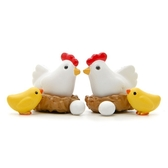 白公雞+黃色小雞微景觀(4入組) 盆栽裝飾【A005010】