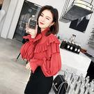 VK精品服飾 韓國風秋裝新款純色綁帶雪紡...