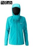 【速捷戶外】英國 RAB QWF-63 Downpour Jacket 女高透氣連帽防水外套(塔斯曼海),登山雨衣,防水外套