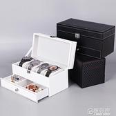 檀韻致遠碳纖維雙層珠寶首飾盒4位手錶盒項練戒指眼鏡收納包裝盒   全館鉅惠
