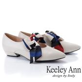 2019春夏_Keeley Ann慵懶盛夏 甜美緞帶尖頭瑪莉珍鞋(米白色)