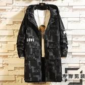 男士風衣外套中長款大衣韓版大碼夾克秋季迷彩大衣外套【左岸男裝】