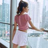 雙十二狂歡  美背鏤空運動短袖跑步速干t恤女透氣健身房訓練秋季瑜伽服上衣  居享優品