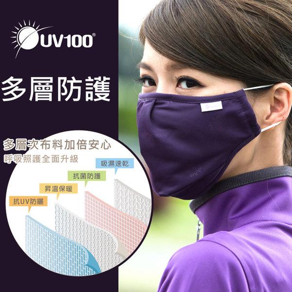 UV100 防曬 抗UV-立體防塵口罩-附濾片 吸濕速乾多機能口罩
