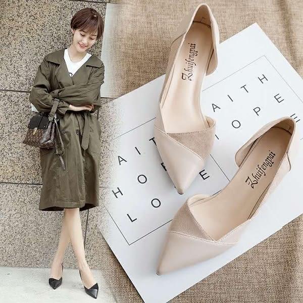白色高跟鞋 細跟尖頭鞋子女 2019大東新款單鞋女百搭工作鞋裸色皮鞋