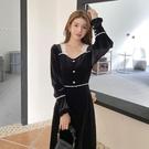 洋裝 2021年新款大碼女裝胖mm法式金絲絨連衣裙子設計感小眾早春款【牛年大吉】
