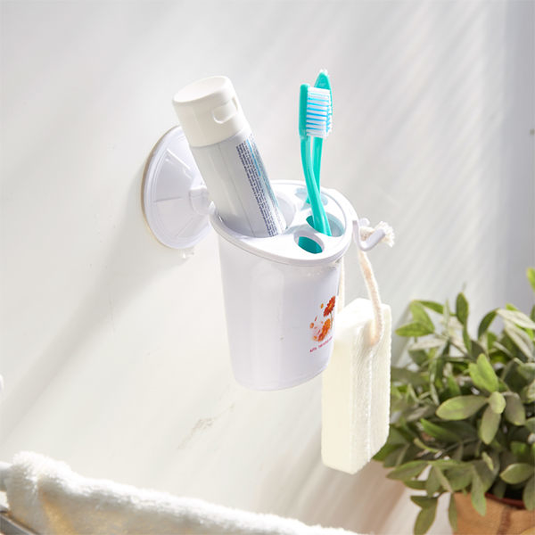 【H&R安室家】TACO無痕吸盤系列-牙刷牙膏置物架(2入)