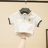 兒童短袖 兒童t恤男童polo衫短袖中小童白色體恤純棉翻領套頭男女童夏裝薄 嬡孕哺