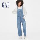 Gap女裝 時尚水洗闊腿牛仔吊帶褲 546831-淺水洗藍