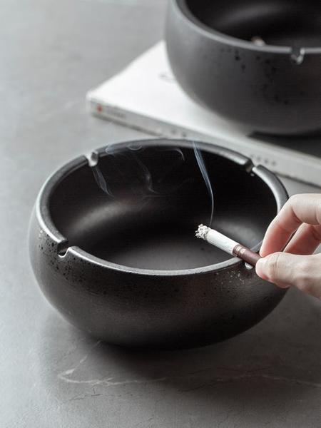創意大號煙灰缸復古中式個性陶瓷煙缸家用客廳辦公室防風煙灰缸 初色家居馆