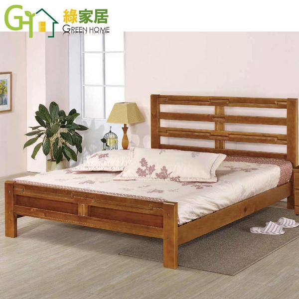【綠家居】吉莉嘉 6尺鄉村色雙人加大床台(含床墊)