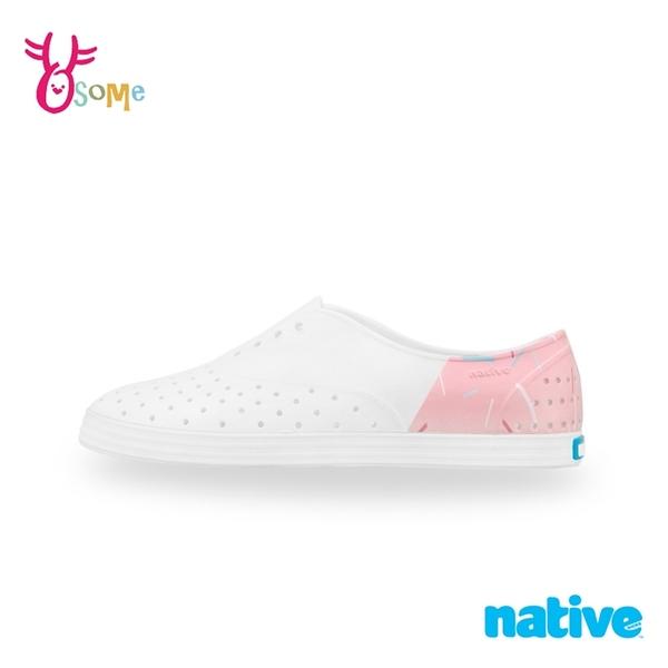 native水鞋 女鞋 修身鞋 JERICHO 洞洞鞋 休閒鞋 懶人鞋 透氣防水 M9449#白粉◆OSOME奧森鞋業