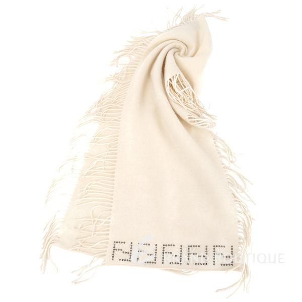 FENDI 米色經典LOGO飾邊流蘇羊毛圍巾(100%WOOL) 1610015-03