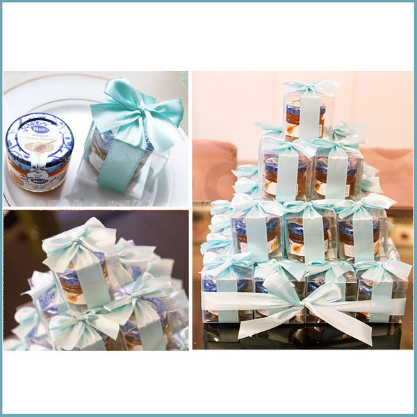 幸福朵朵【甜蜜蜜「透明盒裝」瑞士進口hero蜂蜜小禮盒 x 30盒 (Tiffany色緞帶)-送客小禮婚禮小物