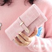 新款潮個性時尚長款錢包純色韓版學生大容量女士簡約ins錢夾
