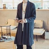 中長款風衣 春秋中國風男裝披風中長款風衣外套男士古裝漢服大碼休閒亞麻開衫