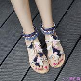 刺繡涼鞋女夏季新款復古流蘇舒適平底民族風羅馬平跟學生女鞋