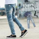 牛仔褲 刷色小抓破挺版高磅合身牛仔褲【NB0262J】