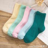 羊毛襪女加厚冬季韓國日系中筒長筒女襪保暖韓版純色襪子女休閒襪 莫妮卡小屋