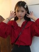 2020秋季新款韓版甜美小清新雪紡上衣荷葉邊寬鬆泡泡袖襯衫女學生 moon衣櫥