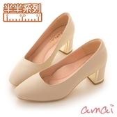 amai《半半系列》MIT台灣製造。羊皮方頭金屬粗跟鞋 深杏