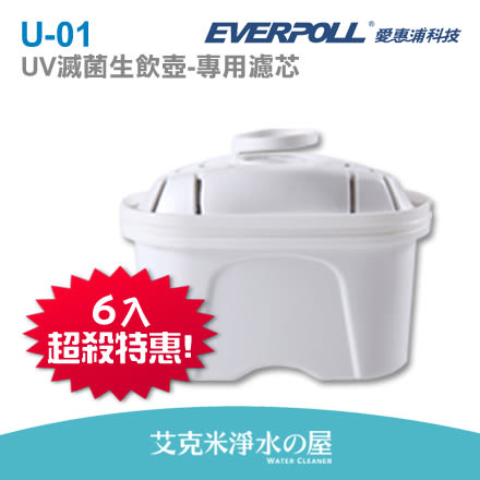 【 EVERPOLL】愛惠浦科技UV滅菌生飲壺UV-805-專用濾芯U-01(6入裝)