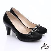 A.S.O 減壓美型 全真皮拼接典雅氣質高跟鞋 黑