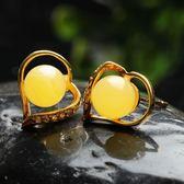 琥珀耳環 925純銀-復古愛心生日情人節禮物女飾品73gb51[時尚巴黎]