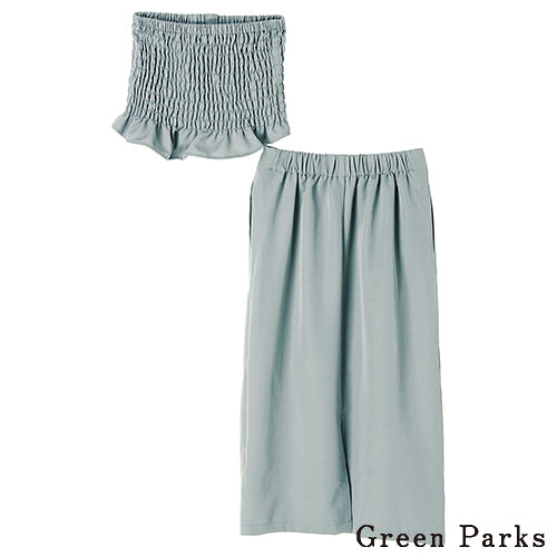 「Hot item」皺褶荷葉平口衣+長版修身A字裙 - Green Parks