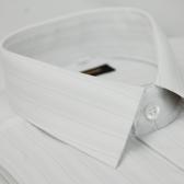 【金‧安德森】白底細點條紋仿絲質短袖襯衫