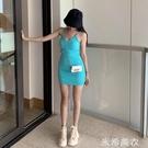 針織打底背心中長款修身包臀吊帶洋裝夏季韓版時尚百搭女潮 米希美衣