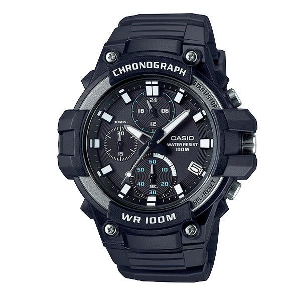 CASIO 簡易碼表計時三眼運動膠帶錶 MCW-110H-1A 防水 學生錶 當兵軍用錶 公司貨   名人鐘錶