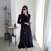 時尚休閒兩件套L-4XL大碼女裝2019秋季新款穿搭寬鬆顯瘦針織衫背帶裙套裝R033A-1611