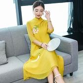 洋装 中大尺碼 奧黛改良旗袍雪紡連身裙 手繪牡丹 中式長裙茶服 2021女春裝新品