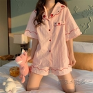 睡衣女夏季短袖薄款2021新款網紅爆款ins風小個子家居服兩件套裝 魔法鞋櫃