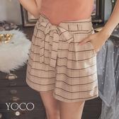 東京著衣【YOCO】細緻質感綁帶蝴蝶結雙口袋格紋短褲-S.M.L(182227)