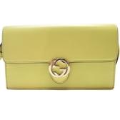 GUCCI 古馳 黃色牛皮雙G金扣肩背包斜背包 Icon Wallet Shoulder Bag【BRAND OFF】