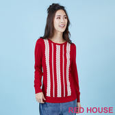 RED HOUSE-蕾赫斯-蕾絲圖案長版針織衫(共二色)