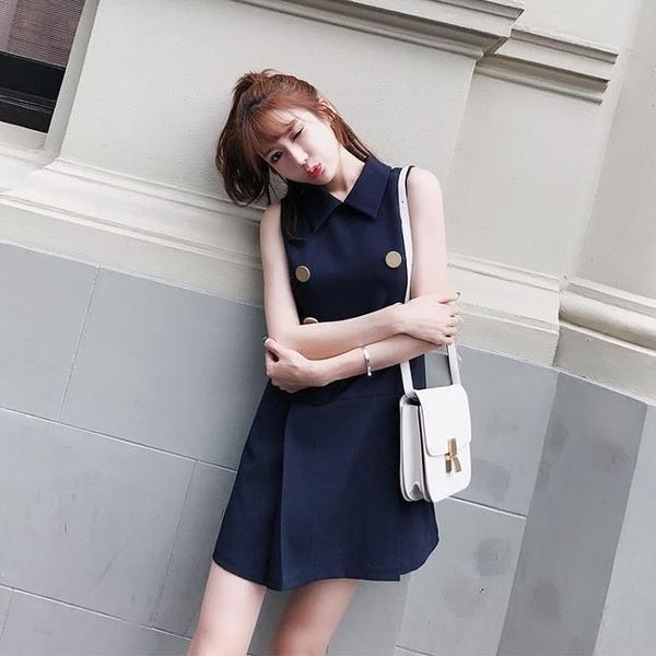 POLO領洋裝 歐洲站新款小香風顯瘦雙排扣襯衫領直筒復古初戀洋裝潮女 【母親節特惠】