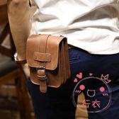 (低價促銷)腰包潮流5.5寸手機胸包男士穿皮帶腰包多功能休閒掛包瘋馬皮
