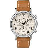 TIMEX 天美時 休閒全數字三眼碼表咖啡皮帶錶 40mm 夜光冷光面板 TXT2R42700 公司貨 | 名人鐘錶