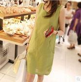 韓國棉麻連衣裙中長款純色背心裙