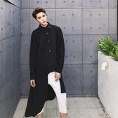 長袖襯衫-不對稱韓版純色個性創意男上衣2色73po4【巴黎精品】