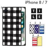 Hamee 日本 EYLE 時尚瓦片水彩 iPhone8/7 強化玻璃 TPU軟式 手機殼 (任選) 151-459860