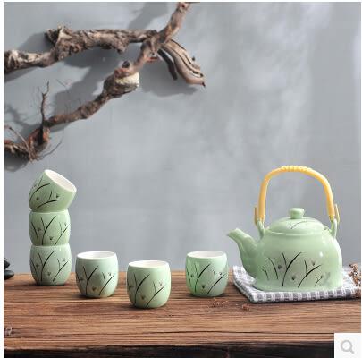 家用日式陶瓷提梁壺整套花茶茶具套裝功夫茶具6茶杯1茶壺禮品高檔