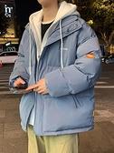 假兩件棉衣服男潮ins棉服冬季加厚新款2020羽絨棉襖韓版潮流外套