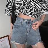 牛仔短褲女破洞闊腿褲高腰a字超熱褲寬鬆褲子【聚物優品】
