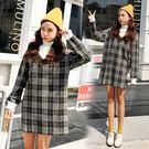 VK精品服飾 韓國復古風時尚拼接撞色格紋長袖洋裝