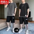 夏季男士短袖t恤男生韓版潮流衣服男裝一套搭配帥氣休閒運動套裝C 韓語空間