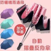 (現貨到)全自動 反向折疊傘 晴雨兩用 三折傘 黑膠折傘 防曬 防紫外線 折疊雨傘 一鍵開收